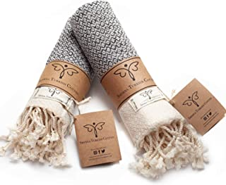 Smyrna Original Turkish Hand Towels Set of 2 | 100% Cotton, 16 x 40 Inches | Decorative..