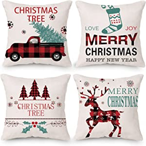 Christmas Decorations Pillow Covers 18x18 Set of 4 Cotton Linen Black and Red Buffalo Plaid Deer Christmas Tree Socks Cushion Cover for Holiday