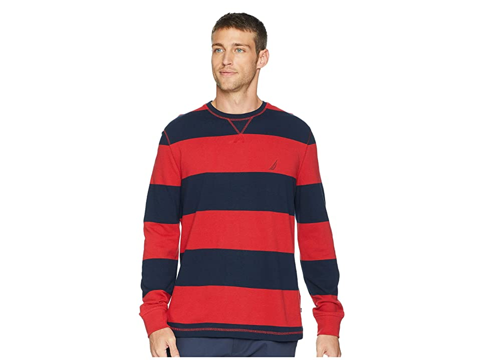 Nautica Long Sleeve Rugby Stripe Sweater (Rescue Red) Men