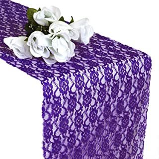 VDS 10 PCS 12 x 108 inch Lace Table Runners for Wedding Banquet Decor Table top Runner Linens Dresser Party Supply - Cadbury Purple