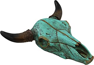 Teal Faux Steer Bull Cow Skull - Wall Mount Head - Rustic Western Art Decor