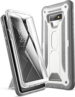 YOUMAKER Kickstand Case for Galaxy Note 9, Full Body with Built-in Screen Protector Heavy Duty Protection Shockproof Rugged Cover for Samsung Galaxy Note 9 (2018) 6.4 Inch - White/Gray