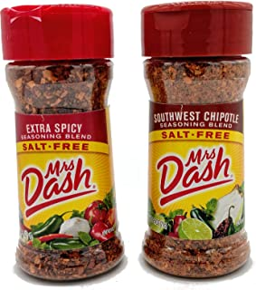 Mrs Dash Salt Free Seasoning Extra Spicy and Southwest Chipotle Bundle, 2.5 Ounce Bottles, 1 Each Fl