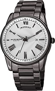 Akribos XXIV Designer Men's Watch - Graduated Roman Numerals with Date and Day Windows on Stylish Stainless Steel Bracelet Wristwatch - AK1039