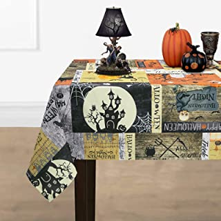 Halloween Tablecloth, Hunted House Town and Spider Web Table Cloth, Graveyard Pumpkin Tablecloths, Scary Themed Waterproof...