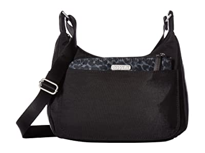 Baggallini Legacy Peekaboo Medium Hobo (Black/Charcoal Cheetah) Hobo Handbags