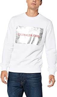 Calvin Klein Jeans Men - White Cotton Sweatshirt with Silver Box Logo