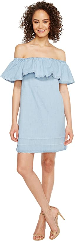 7 For All Mankind Off the Shoulder Denim Dress w/ Released Hem in Cool Wave Blue