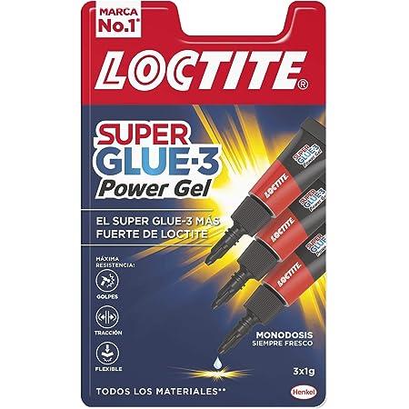 Loctite Super Glue-3 Power Gel Mini Trio, gel adhesivo flexible y resistente, pegamento instantáneo para superficies verticales, pegamento transparente extrafuerte, 3x1g