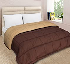 Urban Basics Brown Beige Ultra Soft Microfibre Reversible Double Bed King Size Comforter for Home & Bedroom (90 in x 100 in)