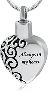 CuteLover Hufan Always in My Heart Cremation Urn Necklace for Ashes
