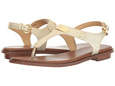 MICHAEL Michael Kors MK Plate Thong (Pale Gold Embossed Lizard Specchio) Women