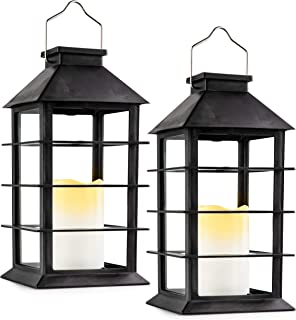 Solar Lantern,Outdoor Garden Hanging Lantern-Set of 2,Waterproof LED Flickering Flameless Candle Mission Lights for Table,Outdoor,Party Decorative