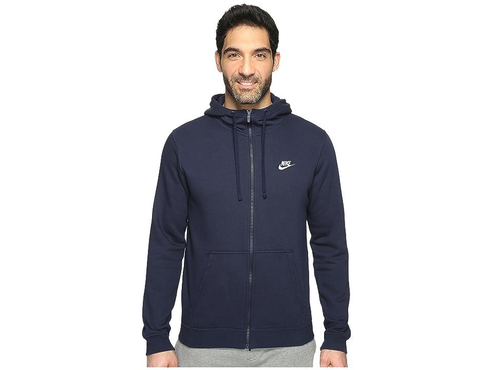 Nike Club Fleece Full-Zip Hoodie (Obsidian/Obsidian/White) Men