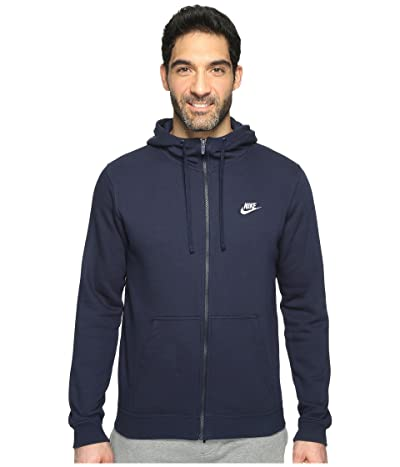 Nike Club Fleece Full-Zip Hoodie (Obsidian/Obsidian/White) Men