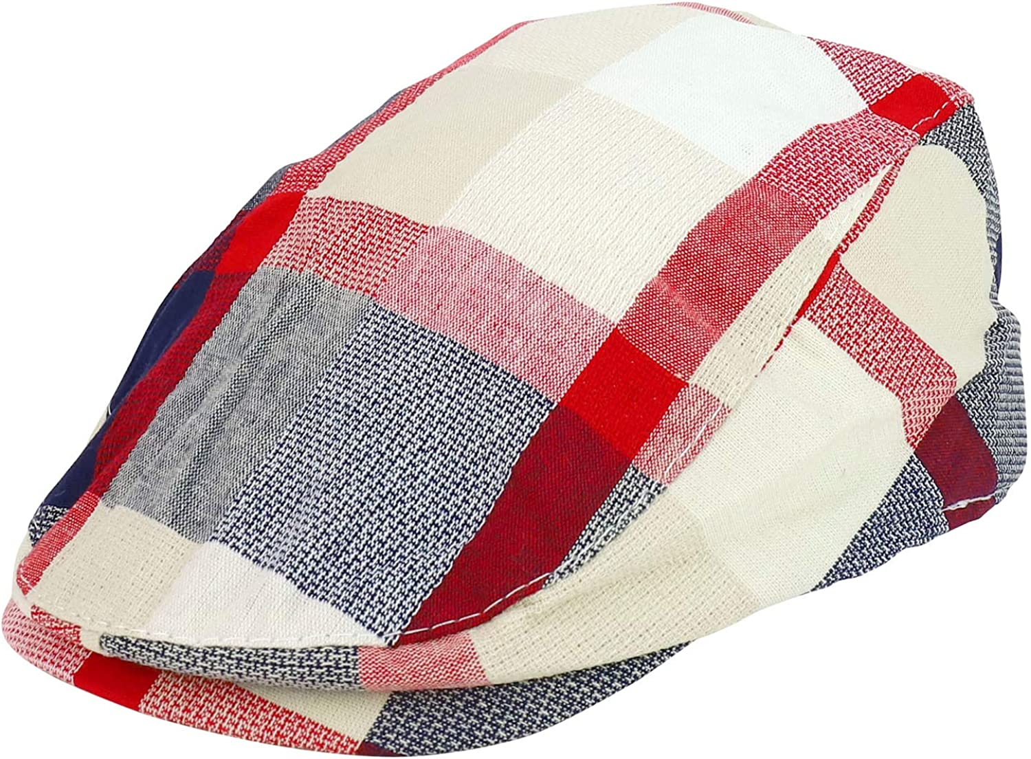 Armycrew Toddler Child's Cool Summer Plaid Ivy Cap with Elastic Back
