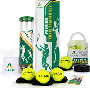 Ahari Unlimited Premium Tennis Trainer Set, Pro Tennis Rebounder with Metal Base in a Carrying Cylinder, 3 Replacement Rebound Balls, & Wristband, Portable Tennis Practice Equipment for Solo Training