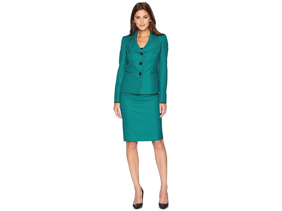 Le Suit Jacquard Three-Button Skirt Suit (Emerald Multi) Women