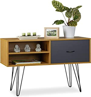Relaxdays Aparador Salón Retro Mesa Consola Mueble Auxiliar Vintage Sideboard DM-Metal 62x100x38 cm Multicolor 62 x...
