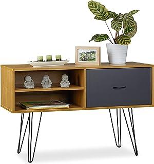 relaxdays Console Design rétro Vintage Table d'appoint 80s tiroir Sideboard Pieds métal HxlxP: 62x100x38 cm, coloré, MDF, ...