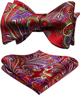 HISDERN Men's Paisley Floral Wedding Party Self Bow Tie Pocket Square Set