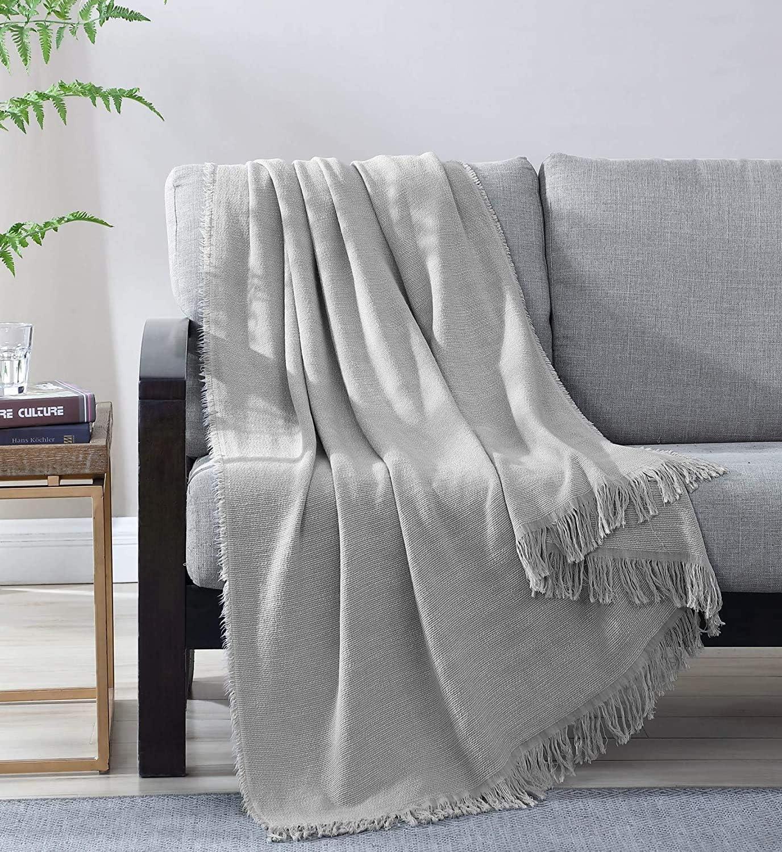 Woven Viscose Cotton Throw Blanket Soft Textured Japan's largest OFFicial shop assortment Solid Lig Super