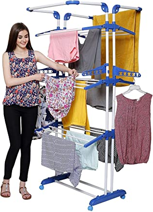 PARASNATH Prime Stainless Steel 3 Poll Clothes Drying Stand With Breaking Wheel System- Blue