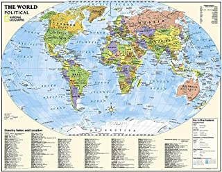 National Geographic: Kids Political World Education: Grades 4-12 Wall Map - Laminated (51 x 40 inches) (National Geographic Reference Map)