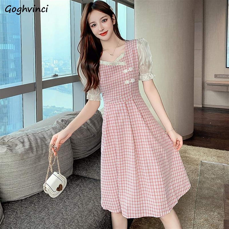 BangHaa Dresses Women Lolita Dress Streetwear Shirt Short Sleeves Pleated High Waist Slim Chinese Style Sweet Elegant Streetwear Simple Girl Trendy (Color : Green, Size : XLarge)