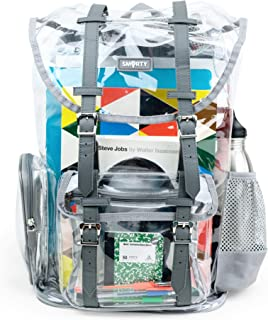 Heavy Duty Clear Backpack Durable Military Nylon Clear Bookbags Transparent Backpack (Gray, Large Rucksack)