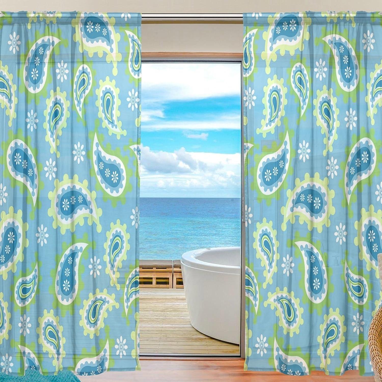 Vantaso Sheer Curtains 78 inch Long Paisley Floral bluee for Kids Girls Bedroom Living Room Window Decorative 2 Panels