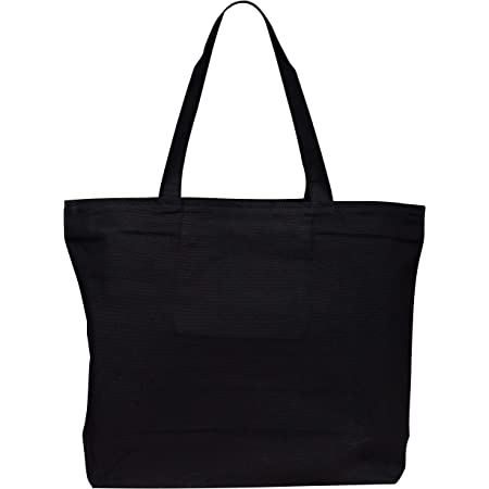 Heavy Canvas Large Tote Bag with Zippered Closure for Beach, Grocery Shopping, Travel by TBF Bags (Black, 2)