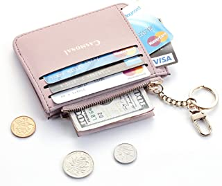 Casmonal Genuine Womens Leather Card Case Holder Minimalist Slim Front Pocket Wallet Coin Change Purse