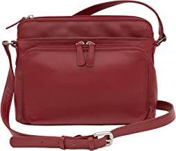 CTM Women's Leather Shoulder Bag Purse with Side Organizer