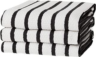 KAF Home Basket Weave Kitchen Towels, White with Black Stripes, Set of 3, 100% Cotton, Over-Sized & Super Absorbent