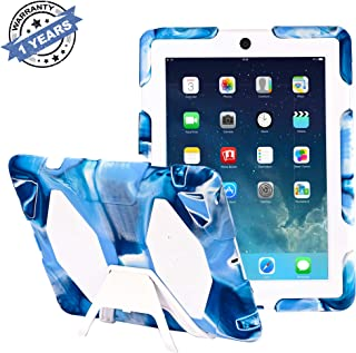 Click Image to Open expanded View Kids Protective Case with Built-in Kickstand for Apple iPad 2/3/4 - Navy/White