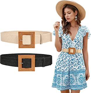 Straw Woven Elastic Stretch Belt for Women, Fashion Skinny Dress Boho Belt with Wooden Style Buckle