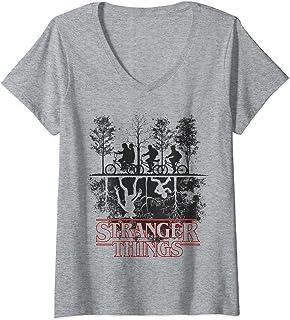 Femme Stranger Things The Upside Down Logo T-Shirt avec Col en V