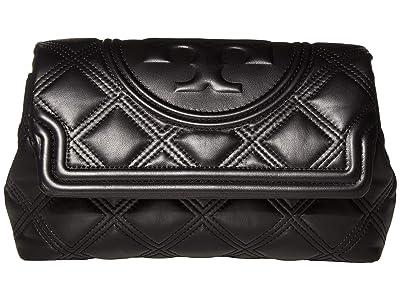 Tory Burch Fleming Soft Clutch (Black) Handbags
