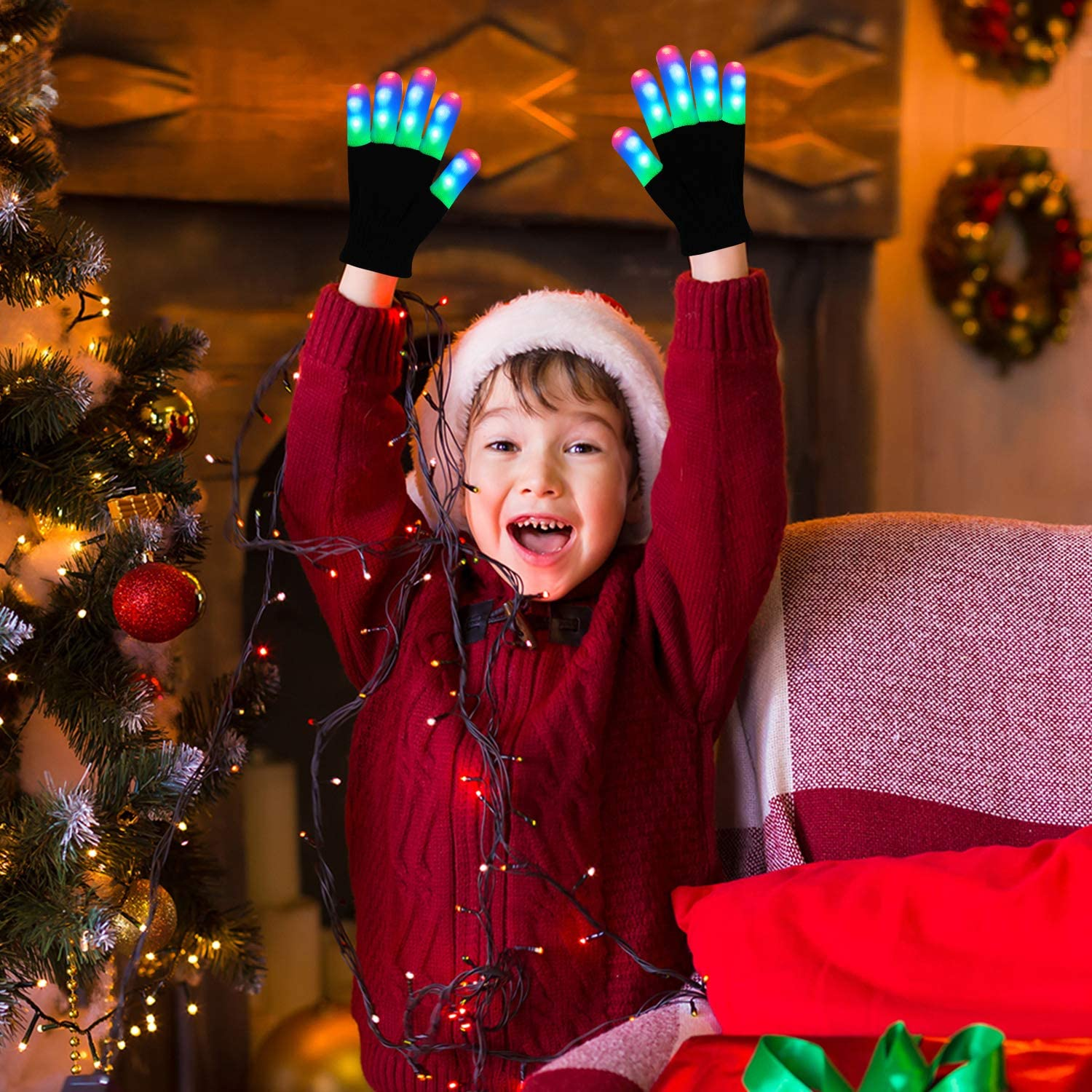 kid-1pair SIPU LED Gloves Light Up Gloves Finger Lights 3 Colors 6 Modes Flashing LED Warm Gloves Colorful Flashing Gloves Kids Toys for Christmas Halloween Party Favors,Gifts