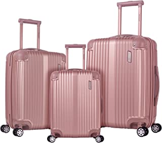 Rockland Berlin Hardside Expandable Spinner Wheel Luggage Set, Rose Gold, 3-Piece (20/24/28)