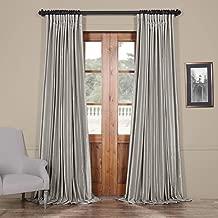 HPD Half Price Drapes PDCH-KBS9BO-96-DW Blackout Extra Wide Vintage Faux Dupioni Curtain, Silver, 100 x 96