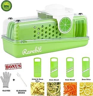 Rarebit Signature Mandoline Slicer (4 Blade Set) - Fruit & Vegetable Slicer, Julienne slice and grate set, Stainless Steel Blades & BPA Free