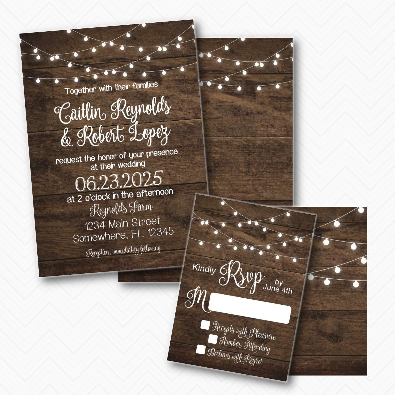 Rustic Wood Lights Wedding Invitation envel Max 84% OFF with Max 67% OFF RSVP set