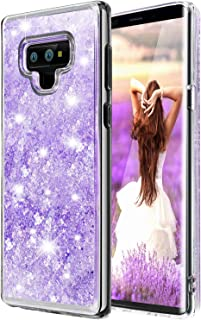 Galaxy Note 9 Case, WATACHE Luxury Glitter Bling Liquid Floating Flowing Sparkles Clear Crystal Back Soft Durable TPU Girl's Case for Galaxy Note 9 Galaxy Note 9 Purple ASX0190