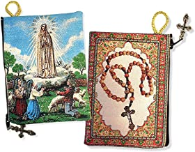 Our Lady Of Fatima With Children Rosary Tapestry Icon Pouch Keepsake Holder 5 3/8 Inch