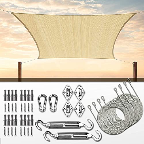 wholesale ColourTree 8' x 12' Beige Sun online sale Shade lowest Sail with Hardware Kit (Hardware Kits + Cable Wires) sale