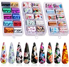 30 Color Nail Foil Transfer Sticker, Kissbuty Holographic Flower Nail Art Stickers Tips Wraps Foil Transfer Adhesive Glitters Acrylic DIY Nail Decoration, 3 Boxes (Flowers and Glitters)