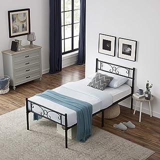 Symylife Lit en métal 90x190cm pour Adultes, Cadre de lit Simple avec tête de lit et Lattes Solides, Motif Papillon, Noir