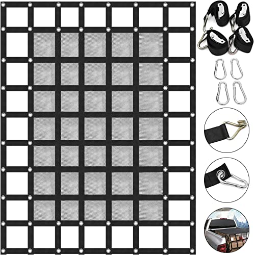 """discount Mophorn 6' high quality x 4.7' Cargo Net with Mesh, Truck Bed Cargo Net Capacity 1100LBS, Heavy Duty Cargo Nets with Cam Buckles & S-Hooks outlet sale for Pickup Trucks (72"""" x 57"""") online sale"""